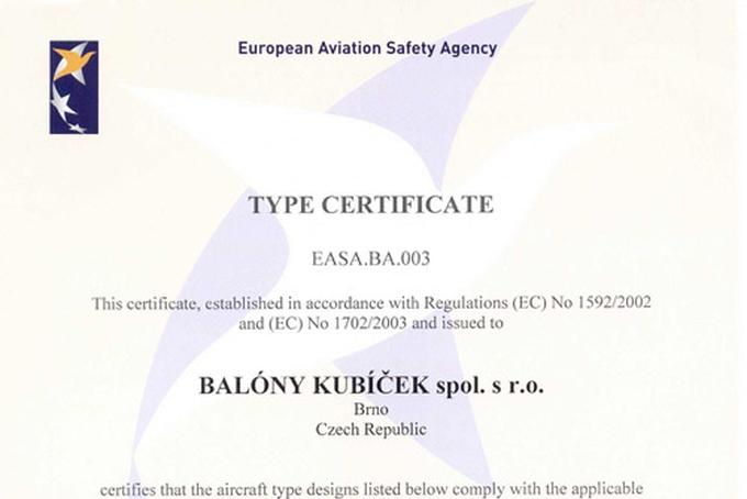 Balóny Kubíček získaly první typový certifikát EASA!