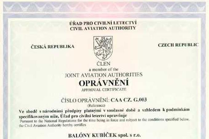 Certifikování podle JAR 21!